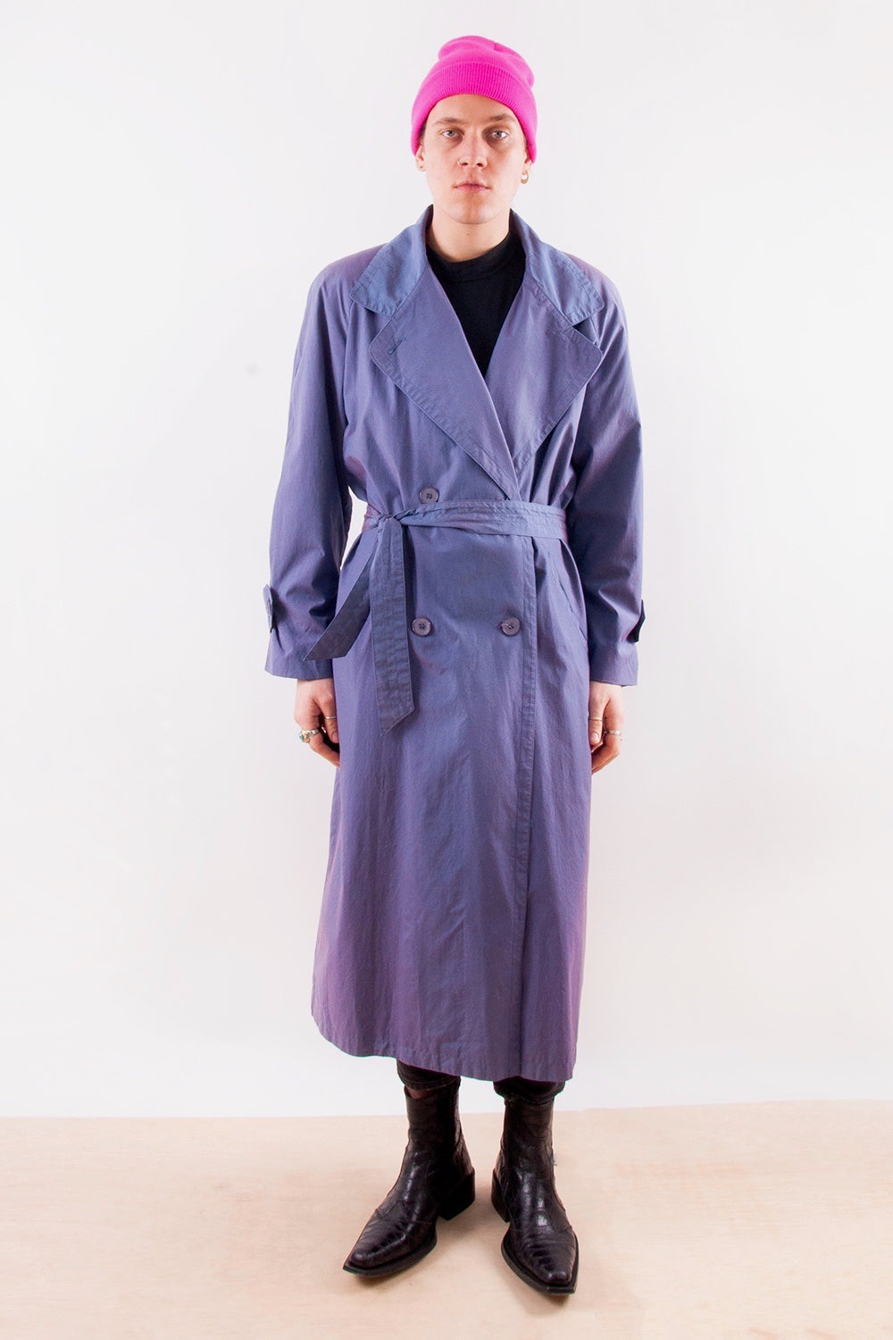 Retro Iridescent Trench Coat in Purple and Pink