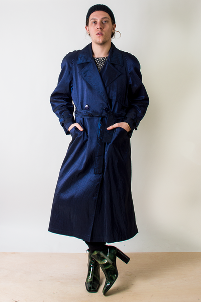 vintage iridescent trench coat in navy blue