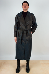 vintage iridescent trench coat in metallic brown and blue