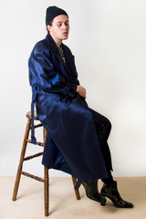 vintage blue iridescent trench coat