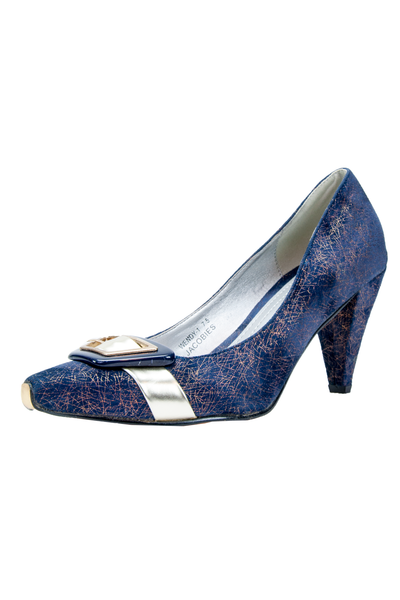 velvet high heel with iridescent print and gold buckle at toe