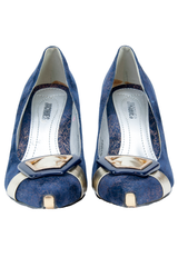 blue velvet high heel shoes with gold buckle at toe