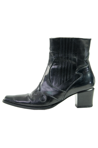 vintage black leather ankle boots with western stitching and pointed toe