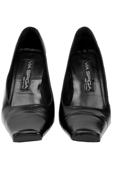 black square toe designer shoes
