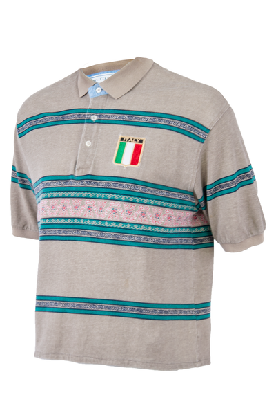 vintage polo with italy patch and patterned stripes