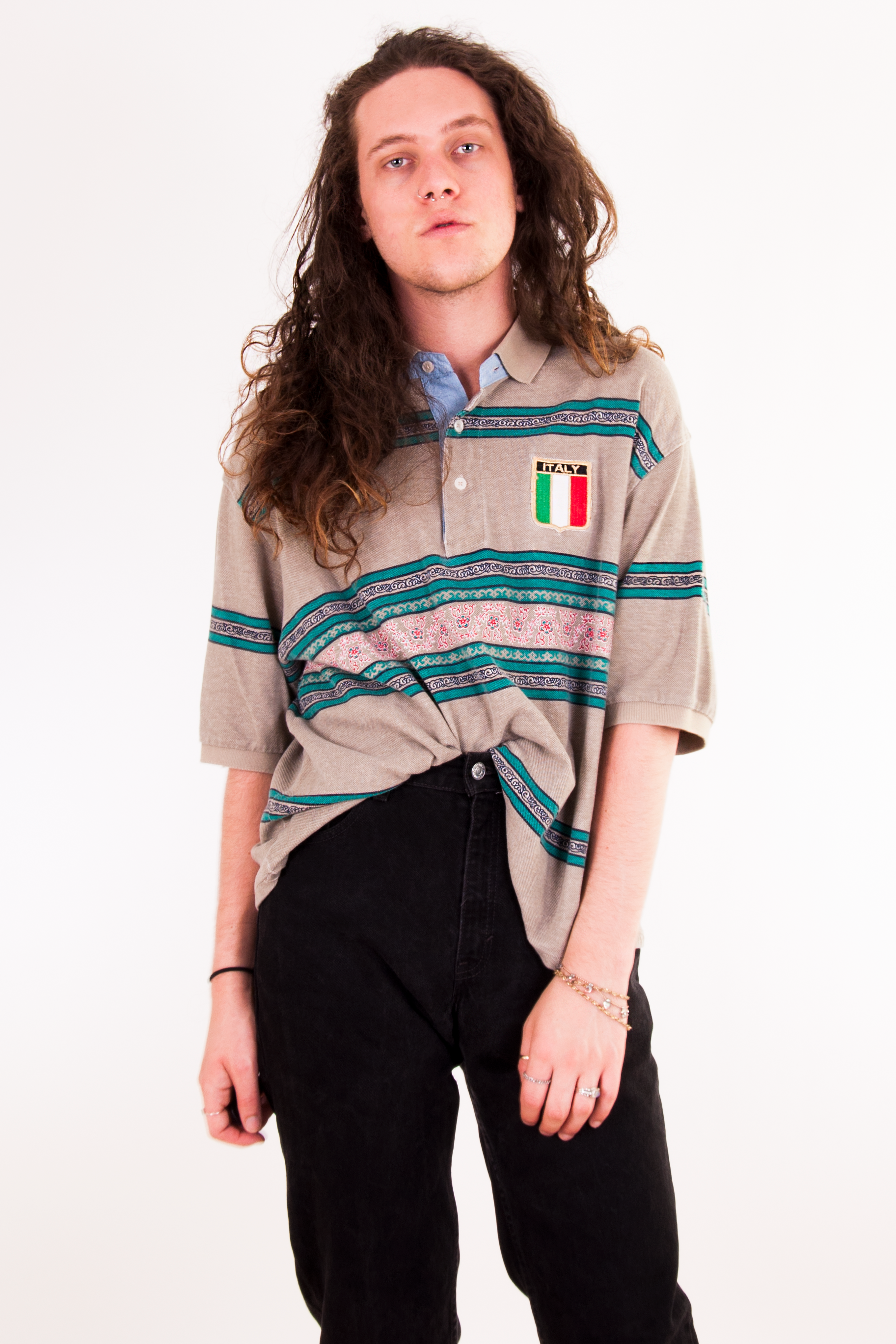 vintage italy polo with stripes
