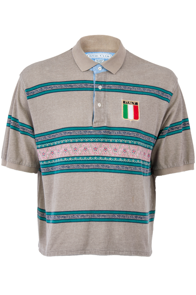 Italy Polo with pattern stripes in tan