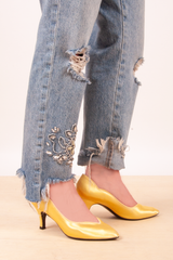 yellow jewel toned heels