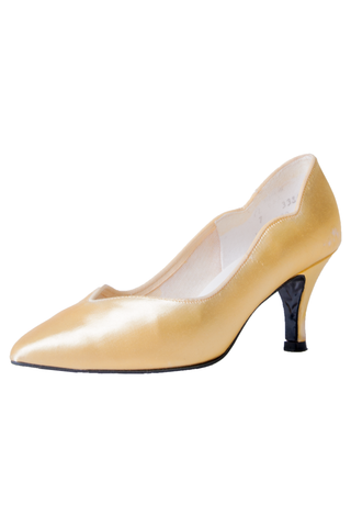 vintage yellow satin pumps