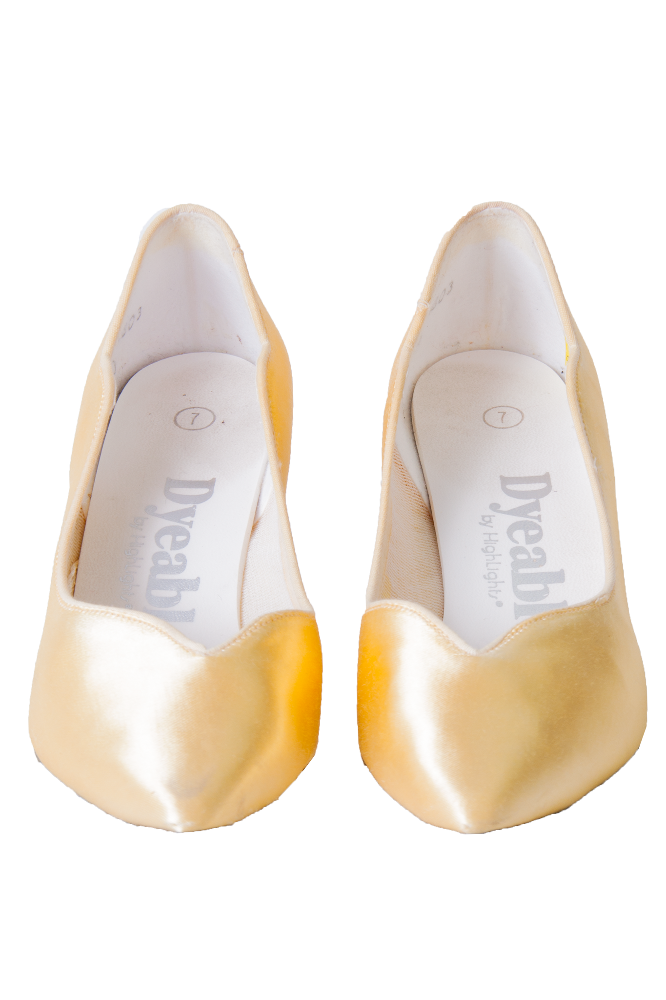 vintage yellow satin shoes