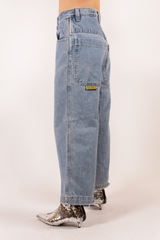 vintage wide leg Jnco blue jeans with cropped length