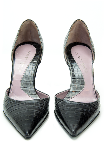 pointy high heels with embossed leather