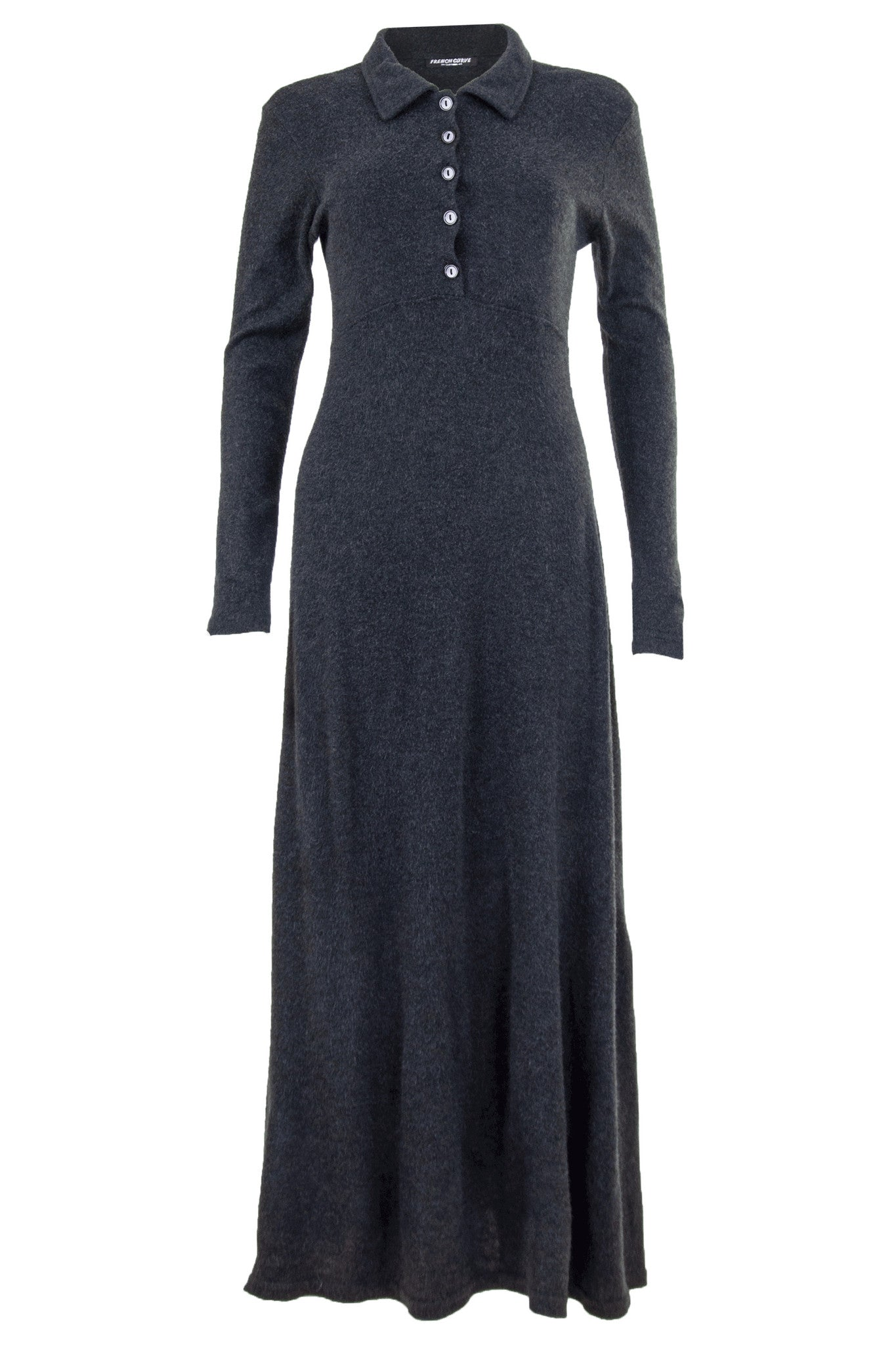 knit maxi dress with long sleeves and button front closure