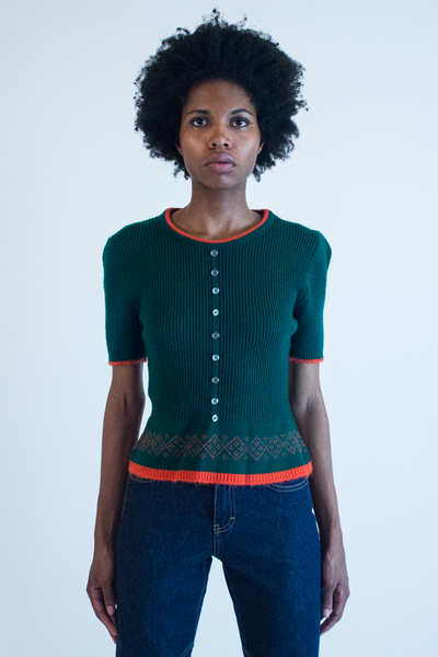 vintage short sleeve sweater in green