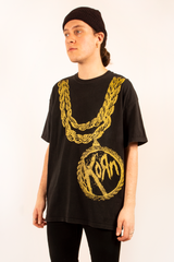 vintage Korn t-shirt in black with metallic gold chain decal