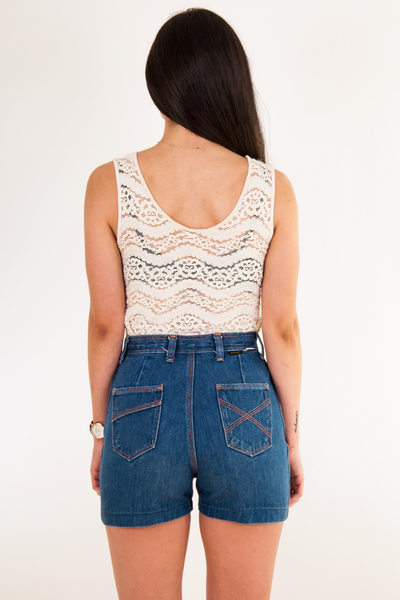 off-white vintage lace tank top and denim shorts