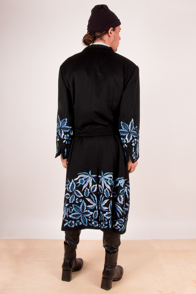 cashmere Lafayette 148 black coat with blue floral embroidery