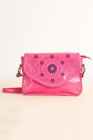 pink lasercut leather purse