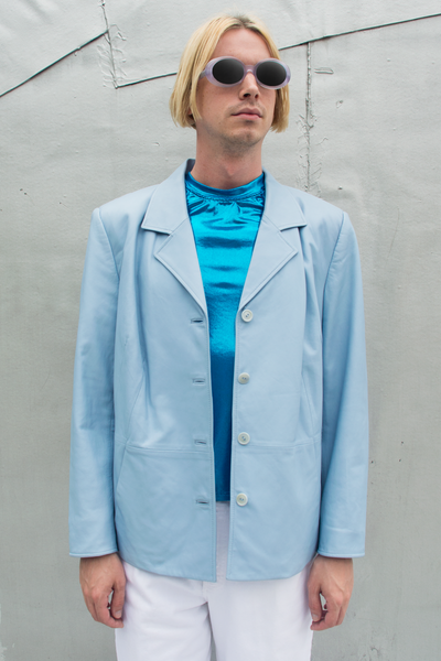 vintage baby blue leather blazer