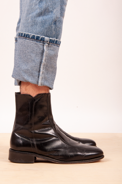 mens vintage black leather ankle boots