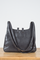 grey leather bag from the 60s