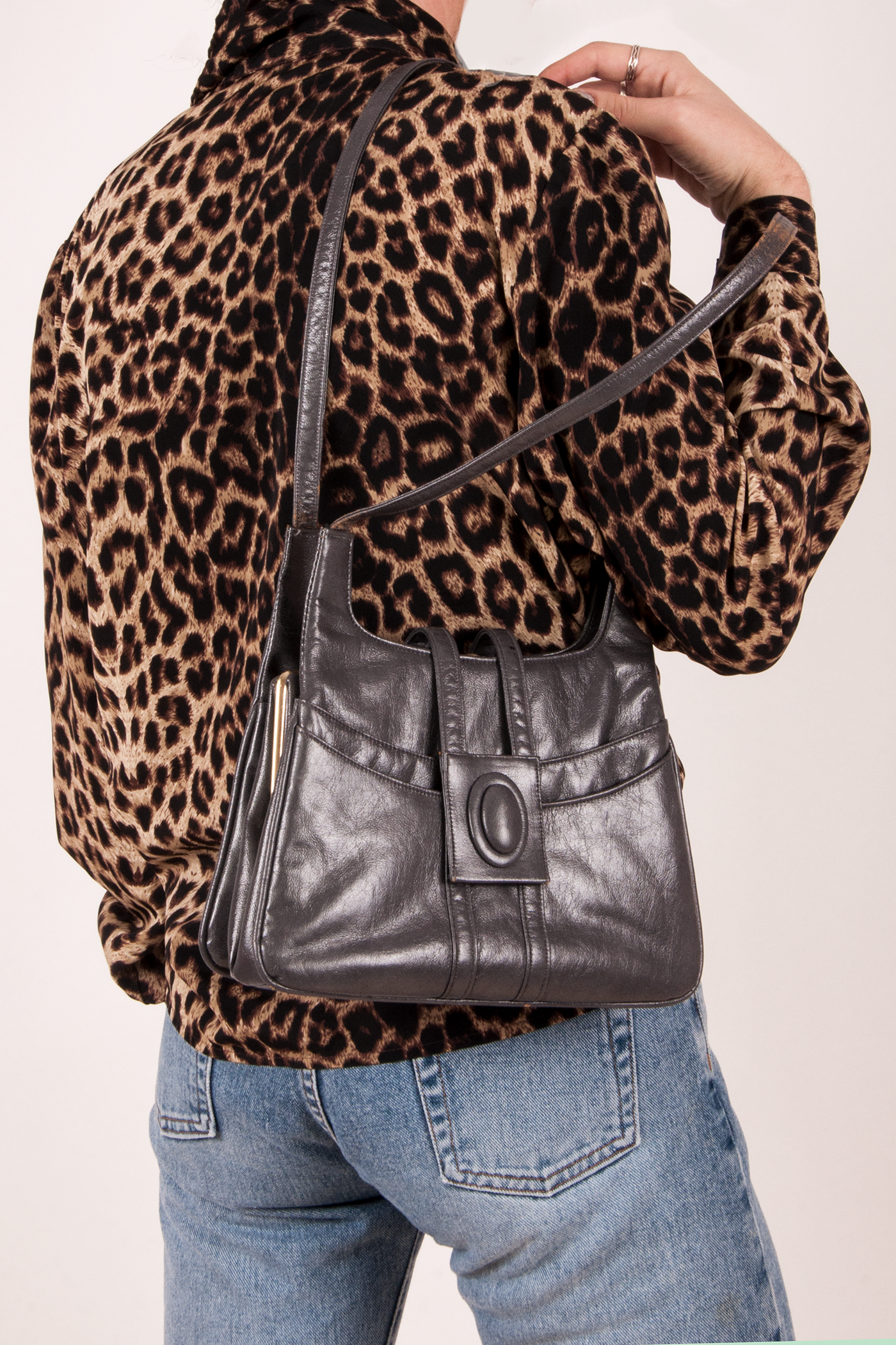 vintage grey leather purse and cheetah shirt