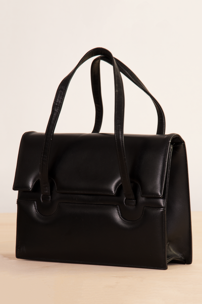 vintage leather envelope bag in black