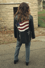 vintage leather jacket with sequin American flag