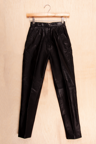 vintage black leather slim straight pants