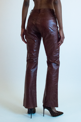 vintage red leather express pants
