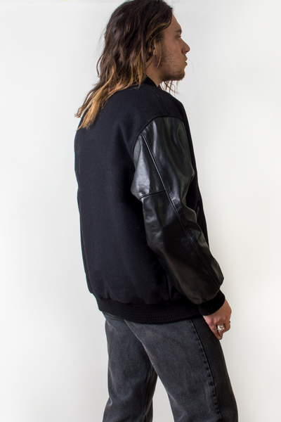 vintage black baseball jacket