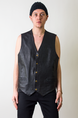 vintage black leather vest