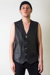 wilsons leather vest in black