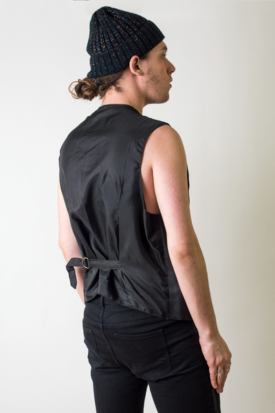 vintage black leather vest with satin back