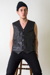 vintage black wilsons leather vest