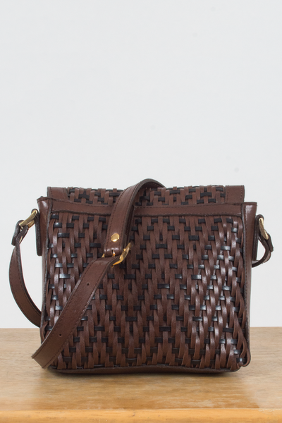 vintage woven leather cross-body bag in brown and navy