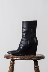 vintage black leather wedge boots