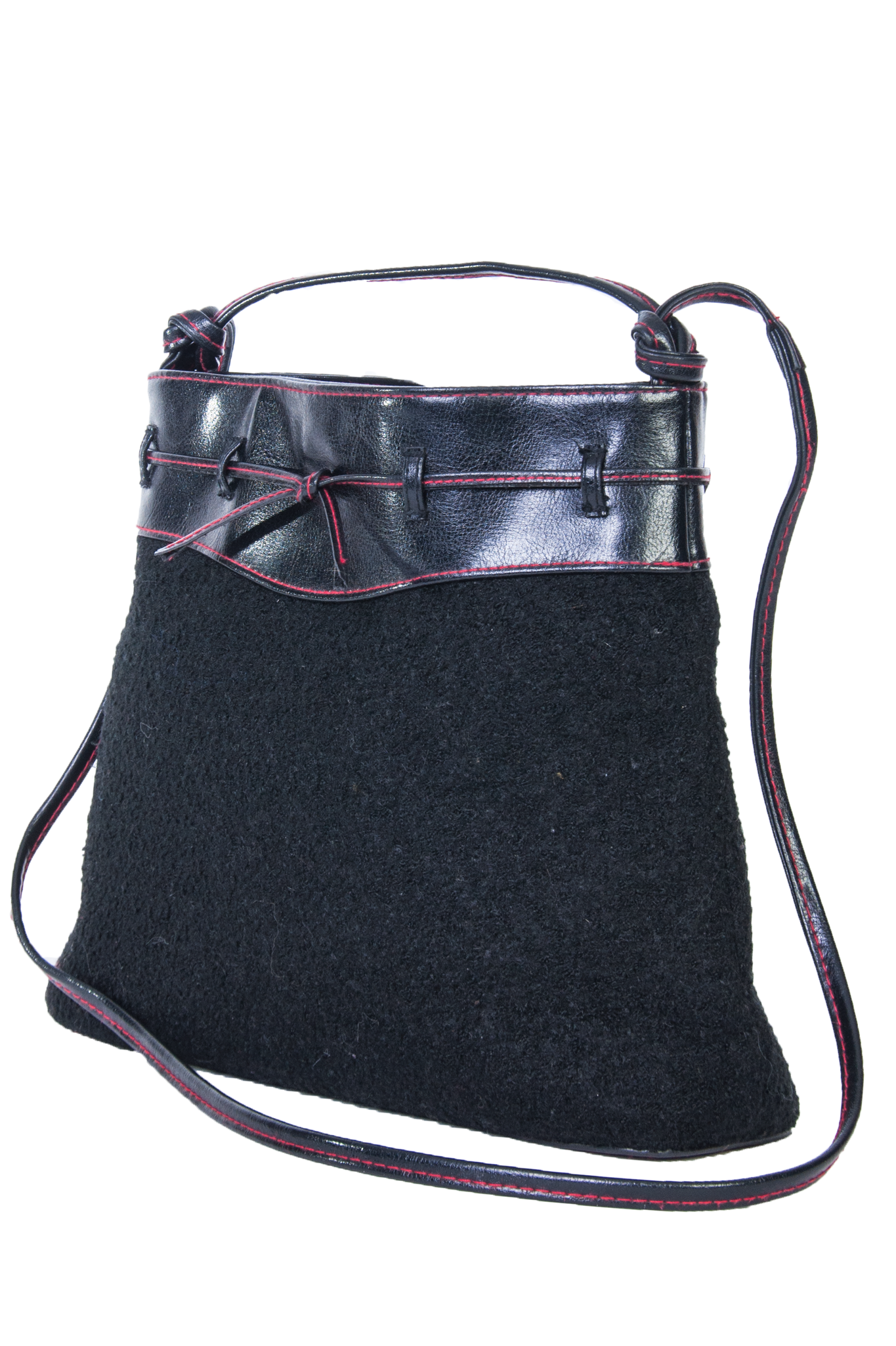 wooly bucket bag with leather trim