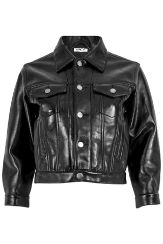 Black leather jacket with front buttons and pointed collar