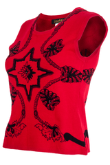 Red tank with knitted sequin and black ornate print