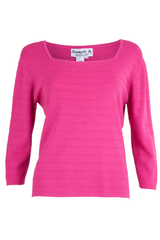 Pink top with square neck and stitched stripes