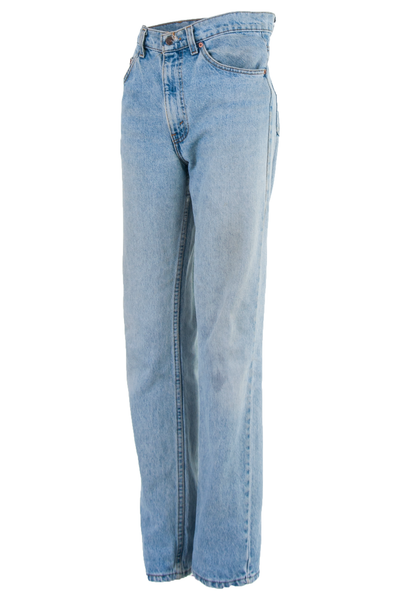 vintage high rise jeans with straight leg in blue
