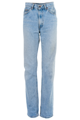 Vintage blue high-waist jeans with straight leg