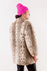 Faux Fur Coat in Tan and White