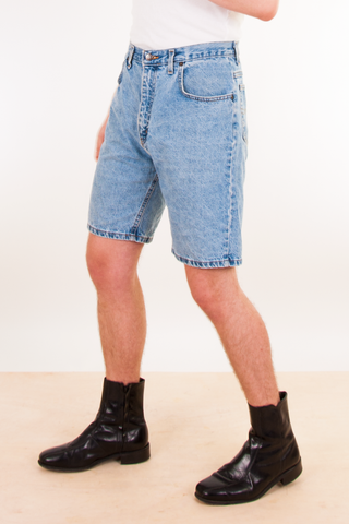 blue jorts with high waist