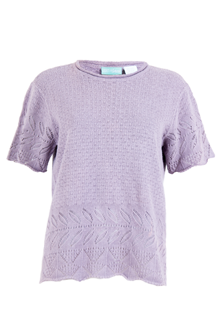 Front view of vintage lilac purple knitted shirt featuring intricate cutout pattern short sleeves and crewneck.