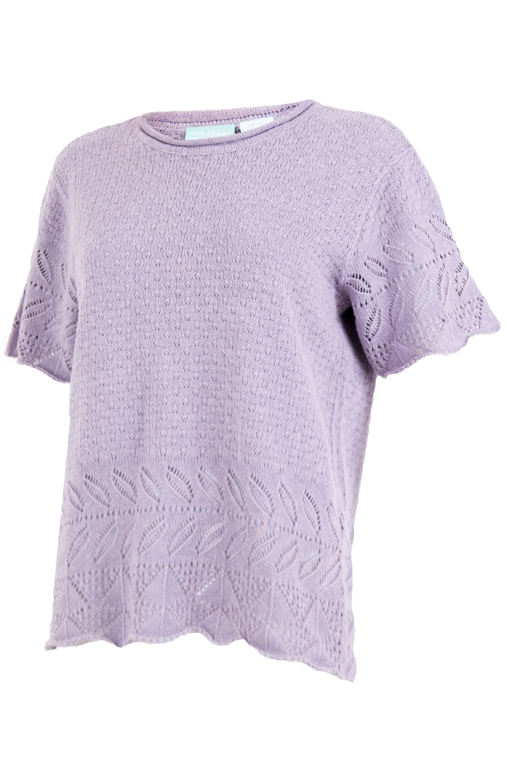 Side view of vintage lilac purple knitted shirt featuring intricate cutout pattern short sleeves and crewneck.