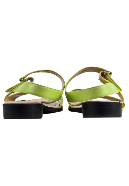 green leather ankle strap sandals