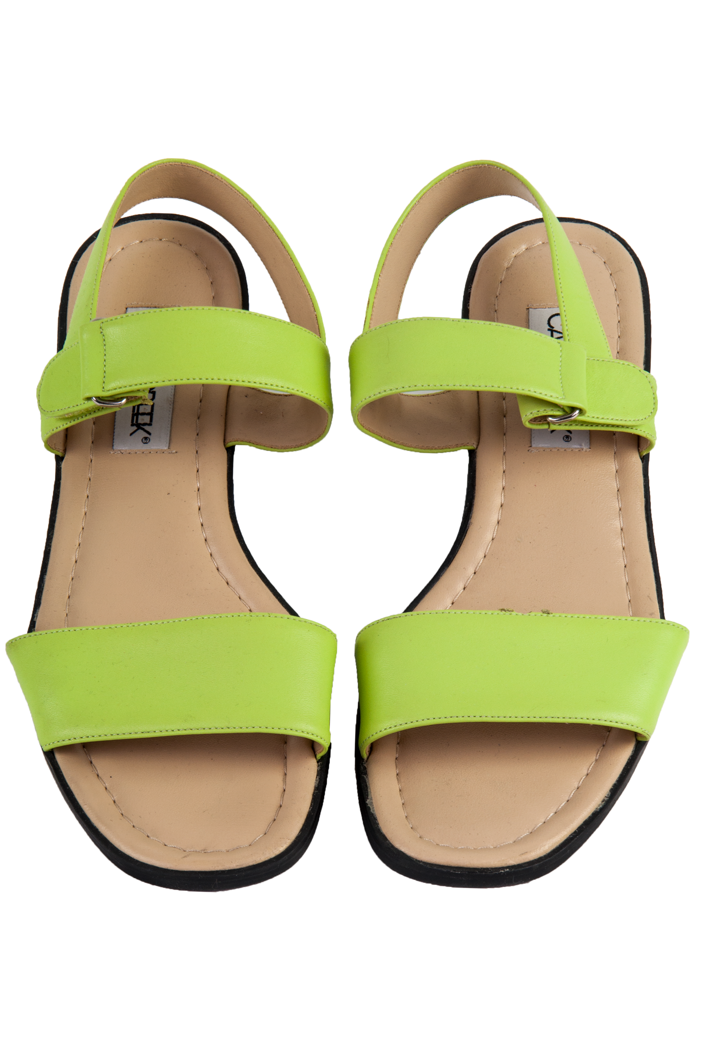 neon green leather sandals from the 90s