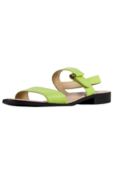 leather gladiator sandals in lime green